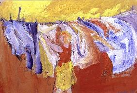 Woman with Washing, 1989 (gouache on paper)