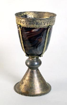 Chalice with jewels and an inscription on the border