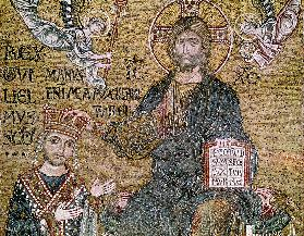 William II (1154-89) King of Sicily receiving a crown from Christ