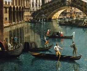 Gondoliers near the Rialto Bridge, Venice (detail of 155335)