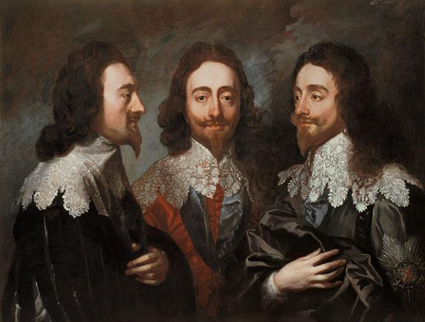 Charles I in Three Positions (1600-49) Painting after Van Dyck