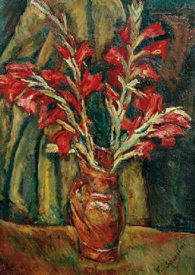 Red Galdioli in a Vase