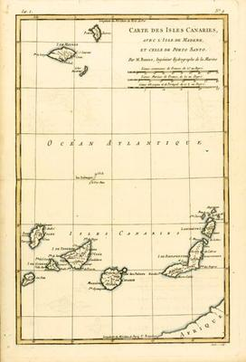 The Canary Islands, with Madeira and Porto Santo, from 'Atlas de Toutes les Parties Connues du Globe