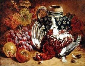 Still Life of Grapes, Apples, Dead Grouse and a Blue Jug