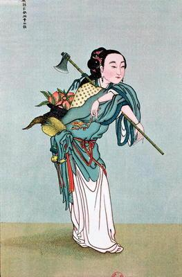 Ma Kou Carrying Medicinal Plants, from a work by Father Henri Dore, late 19th century (colour litho)