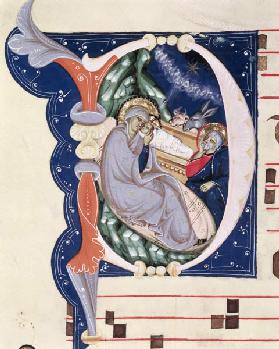 Ms 561 f.31v Historiated initial 'D' depicting the Nativity, from a gradual from the Monastery of Sa