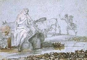 Apollo and Mercury (brown & grey ink and wash on paper)