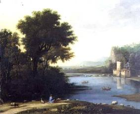 Italianate Landscape with a Goatherd Piping to his Goats
