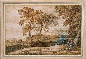 Landscape with a shepherd and his dog