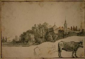 View Outside the Piazza del Popolo (black chalk & wash on paper)