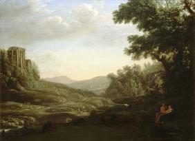 Extensive Wooded Landscape with Ruined Temple
