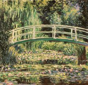 Brug in Monets tuin met witte waterlelies Claude Monet