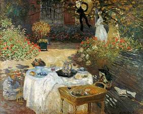 De lunch (in Monet's tuin Argenteuil) um 1873