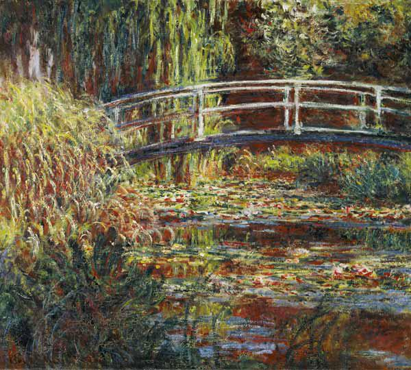 Waterlelievijver en Japanse brug in roze harmonie Claude Monet