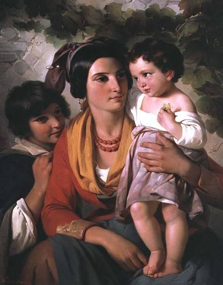 Mother And Children Cornelis Kruseman Als Kunstdruk Of Als