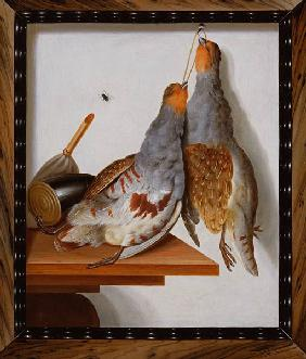 Trompe l'Oeil of Two Partridges Hanging from a Nail
