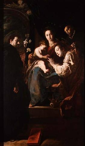Mystical marriage of St. Catherine and the Christ Child with Peter the Martyr