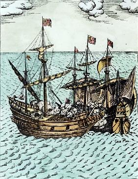 A Spanish Treasure Ship Plundered Francis Drake (c.1540-96) in the Pacific