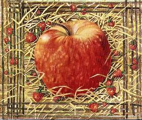 Apple in Straw with Strawberries, 1997 (acrylic on canvas)