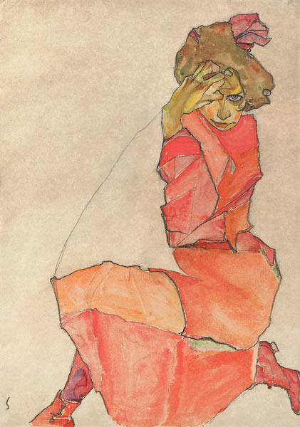 Kneeling Female in Orange-Red Dress