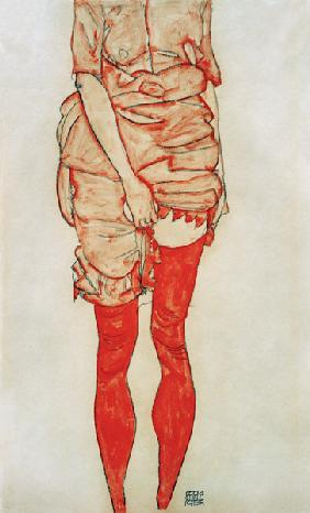 Stationary woman in red 1913