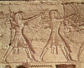 Archers, detail from the hunt of Ramesses III (c.1184-1153 BC) from the Mortuary Temple of Ramesses