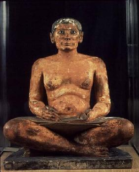 Crouching Scribe Statue, from Saqqara, Old Kingdom (limestone, alabaster & rock crystal)
