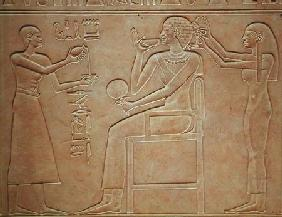 Queen Kawit at her toilet, from the sarcophagus of Queen Kawit, found at Deir el-Bahri, Middle Kingd