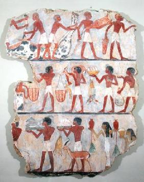 Scene of butchers and servants bringing offerings, from the Tomb of Onsou