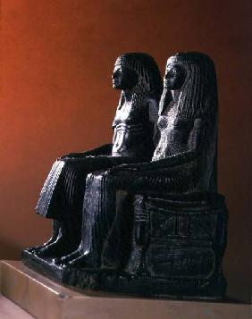 A seigneurial couple in ceremonial clothes, New Kingdom