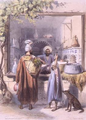 A Zeyat or Oil Seller with Customers in his Shop in Cairo, illustration from 'The Valley of the Nile