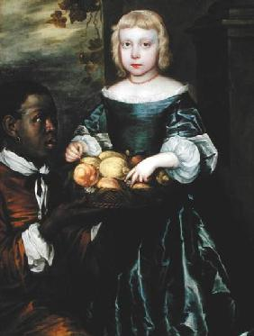 A Young Girl Being Offered a Basket of Fruit by a Servant