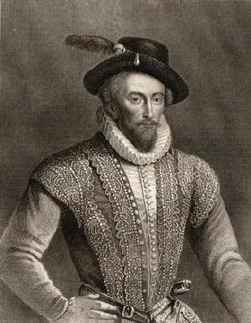 Portrait of Sir Walter Raleigh (c.1554-1618) (engraving)