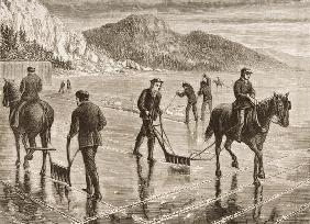 Ice-Harvest on the Hudson River, New York State, c.1870, from 'American Pictures', published by The