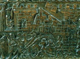 The Courtrai Chest depicting the attack of the Courtrai garrison, during the Battle of the Golden Sp