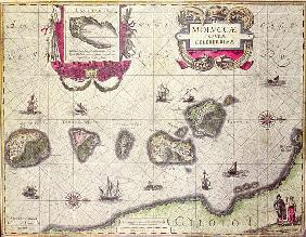 Map of The Moluccan Island; engraved by Jodocus Hondius (colour engraving)