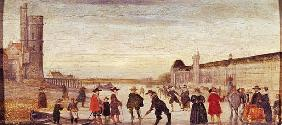 Skaters on the Seine in 1608