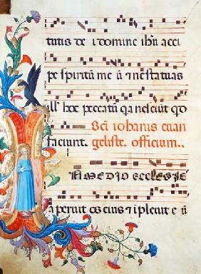 Ms 558 f.13v Historiated initial 'I' depicting St. John the Evangelist, with page of musical notatio