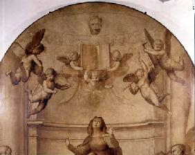 The Great Council Altarpiece, detail depicting musical angels holding aloft a book