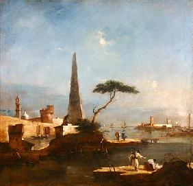 Obelisk beside the entrance to a walled harbour (oil on canvas)