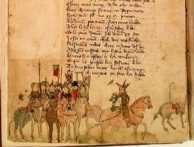 Ms Est 27 W 8.17 f.1v Attila the Hun (c.406-453) and his army on horseback, from 'The War of Attila'