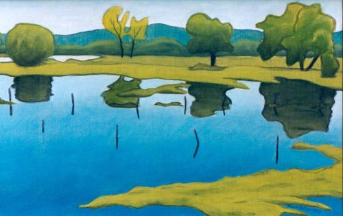 landschaft blau und gr n frank hahn als kunstdruk of als handgeschilderd olieverfschilderij. Black Bedroom Furniture Sets. Home Design Ideas