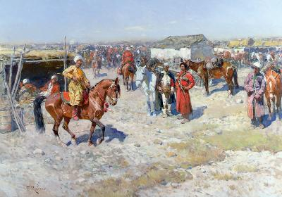 Central Asian Horse Market (oil on canvas)
