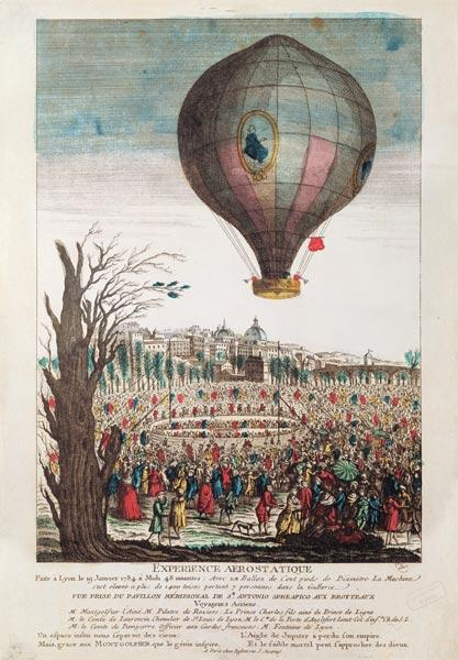 Hot-Air Balloon Experiment the Montgolfier Brothers and Francois Pilatre de Rozier (1754-85) at Lyon