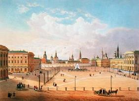 The Theatre Square in Moscow, printed by Jacottet and Bachelier