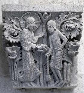 God telling Adam to work the land, original capital from the cathedral nave