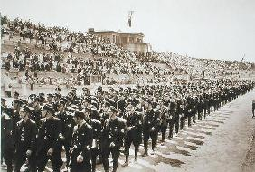 Parade of newly formed SS in the Deutsches Stade, Nuremberg, 11th-13th August, 1933, from 'Deutsche