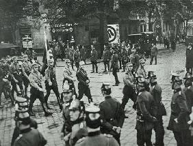 Regular Army and Prussian Police observing an SA demonstration in Neukoelln, Berlin, 26th September
