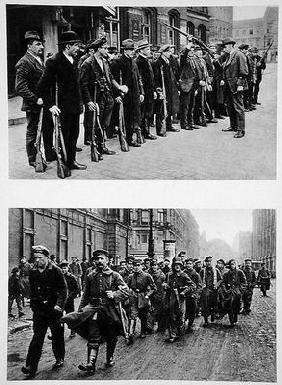 Rifle drill of the Spartacists (top) Revolutionary troops (bottom) on the 9th November 1918, from 'D