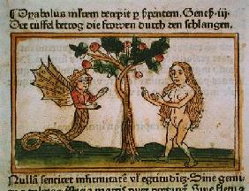 Eve Tempted by the Serpent, from 'Speculum Humanae Salvationis', published in Augsburg